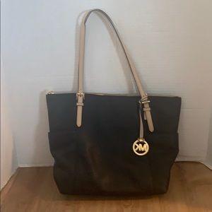 Michael Kors Black/Tan leather tote purse
